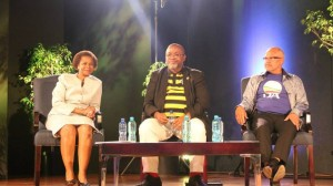 IN THE HOT SEATS: Mamphela Ramphele, Gwede Mantashe and Wilmot James prepare to debate in the Wits Great Hall last night. Photo: Thabile Manala