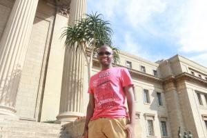 MADE IT: Sakumzi Langa at the Wits Great Hall stairs Photo: Thabile Manala