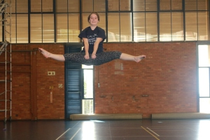 HIGH FLYING: An avid gymnast shows off her dexterous moves. Photo: Thabile Manala