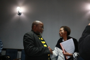 Gwede Mantashe and Mamphela Ramphela exchanging a courtesy handshake right before the Great Debate started Photo: Thabile Manala