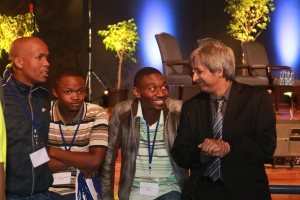 Adam Habib interacting with Wits students and listening to their political views.  Photo: Thabile Manala