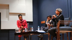 TOWNHALL POLITICS: (from left to right), Dr Pamela Dube, Shafee Verachia and Prof Adam Habib field questions about promises made. Photo: Palesa Tshandu